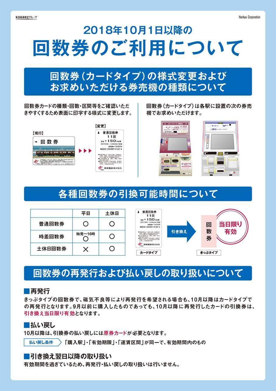 阪急電車 切符式回数券の販売終了