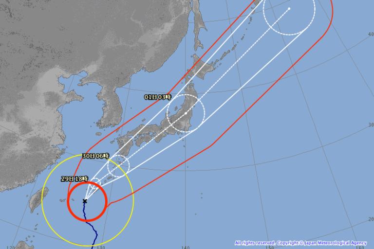 台風24号 予想進路